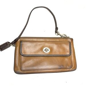 COACH Brown Soft Leather Wristlet Purse Wallet Bag